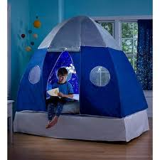 Hearthsong Kids Galactic Bed Tent With Starburst Led Light Windows And Doors Blue Target
