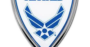 Air Force Retired Shield Chrome Emblem Elektroplate