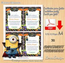Invitacion Digital Imprimible Minions Halloween Cumpleanos