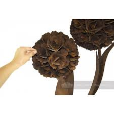 dual flower rustic garden sculpture