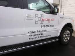 Vehicle Wrap Graphics For A Work Truck Matching Hard Hat Decals Build Brand Identity Systemetik Newport Or Vancouver Wa