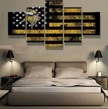 Minnesota Vikings Art Home Decor American Flag Canvas Print Gifts For Him Football Wall Art Man Cave Ideas Zimmer Alleinerziehend Alleinstehende Frauen