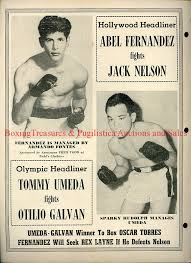 1952 September 27th JACK NELSON vs ABEL FERNANDEZ, OTILIO LEFTY GALVAN vs  TOMMY UMEDA Boxing Program