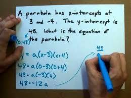 parabola given its intercepts