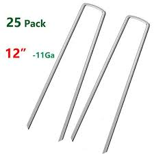Aagut 12 Inch Galvanized Garden Tent Stakes Landscape Staples 11 Gauge Steel Sod And Fence Stake For Anchoring Tents Landscape Fabric Extra Heavy Duty 25 Pack Walmart Com Walmart Com