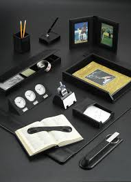 black leather promotional desk sets and