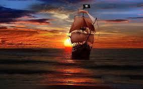sunset and pirate ship fantasy art