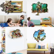 Jurassic Park Dinosaur Wall Sticker Children S Room Bedroom Home Decor 3d Wall Decal Mural Poster Boy Gift Wall Stickers Aliexpress