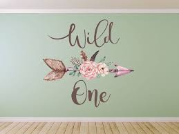 Boho Wall Decals Wild One Wall Decal Boho Feathers Arrow Wall Decal Clear Vinyl Decal Bohemian Vintage Sticker Watercolor Rustic Florals Wall Decals Boho Bedroom Decor Arrow Wall Decal Boho Bedroom