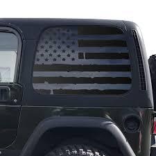 Amazon Com Distressed Usa Flag Decals For 1997 2006 Jeep Wrangler Tj 2 Door Only Hardtop Windows Custom Design Qr3 Tj1 A Handmade