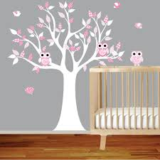 Vinyl Wall Decal Stickers White Pink Owl Tree Set Nursery Girls Baby 99 00 Via Etsy With Images Nursery Wall Stickers Baby Room Decor Wall Decals