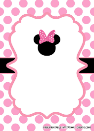 Free Minnie Mouse Head Pink Invitation Templates Invitaciones
