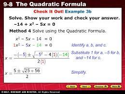 9 8 the quadratic formula warm up warm