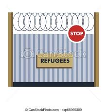 Refugees Fence With Wiring Border Crossing Illegal Migration Illegal Migration Refugees Fence With Wiring Border Crossing