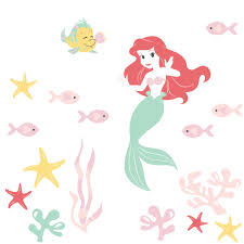 Disney Baby Ariel S Grotto Red Pink Mermaid Wall Decals
