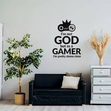 Gamer Not God But Close Gaming Decor Gaming Wall Decal Controller Game Vinyl Wall Stickers Sku Godg In 2020 Gaming Decor Wall Decals Vinyl Wall Stickers