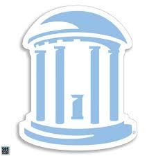 Unc Carolina Blue Old Well Decal Shrunken Head