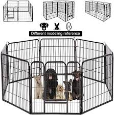 Amazon Com Bestpet Dog Pen Extra Large Indoor Outdoor Dog Fence Playpen Heavy Duty 8 Panels 40 Inches Exercise Pen Dog Crate Cage Kennel Black Pet Supplies