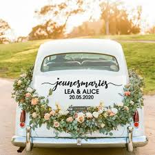 New Design French Text Custom Name Just Married Car Sticker For Weeding Cars Window Decal Vinyl Car Body Stickers Waterproof Car Stickers Aliexpress