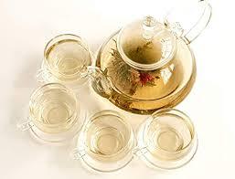 clear glass teapot set 4 cups