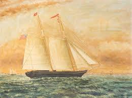 "Polly Lewis, Boston"" Ship Painting"