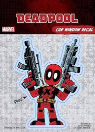 Deadpool Cartoon Guns Marvel Comics Car Window Decal