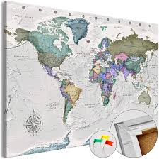 Amazon Com Artgeist Pinboard World Map 35 4 X 23 62 Cork Board Canvas Print Wall Art 1 Pcs Memoboard With 50 Pins Noticeboard Message Board Image Picture Home Decor Travel Map Of The