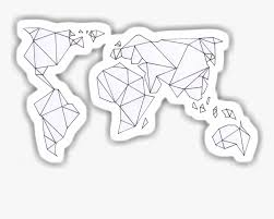 A Sticker Of A Geometric World Map Stickers For Laptop Png Transparent Png Kindpng