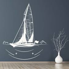 Sailboat Wall Decal In Sea Ships Transport Art Mural Kids Bedroom Bathroom Home Decor Vinyl Window Stickers Nursery Decals M875 Wall Stickers Aliexpress
