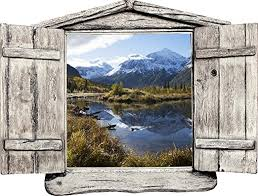 Amazon Com 24 Window Landscape Country Scene Instant Nature View Alaska Mountain Lake Day 5 Wooden Open Wall Sticker Decal Room Home Office Art Decor Den Mural Graphic Small Home Kitchen