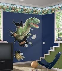 Kids Bedroom Enhancement With Kids Wall Murals Decor Archimagz Dinosaur Theme Room Little Boys Rooms Dinosaur Room