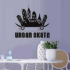 Wall Sticker Creative Design City Skateboard Wall Stickers Vinyl Decals Skateboarding Extreme Sports Boy Home Decoration Wall Stickers 44x43cm Amazon Com