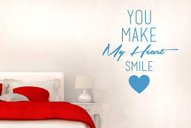 You Make My Heart Smile Wall Stickers Art Decals Large Height 63cm X Width 57cm Blue Amazon Co Uk Kitchen Home