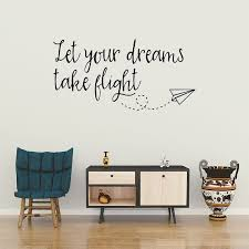 Let Your Dreams Take Flight Wanderlust Wall Decal Inspirational Quote In 2020 Wall Quotes Wall Decals For Bedroom Wall Decals