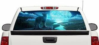 Wolf And Moon Wrap Rear Window Graphics Decal Sticker 66 X 22 Suv Truck 48 99 Picclick