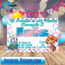 Invitacion De Cumple Anos Infantil Paw Patrol Para Nina 80 00