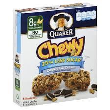 quaker chewy granola bars 25 less