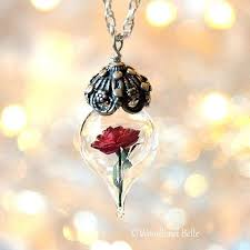 red rose glass pendant