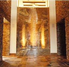 stone wall indoor waterfall eclectic