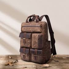 luxury leather mens backpack leather