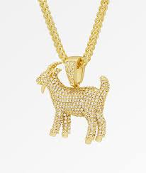 goat iced gold pendant necklace