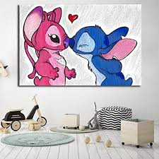 Amazon Com Stitch And Angel Minimalist Wall Art Canvas Poster And Print Canvas Painting Decorative Picture For Bedroom Girl Kids Room Decor 50x70cm No Frame Posters Prints