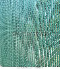 Chain Link Fence Green Slats Objects Stock Image 1072711433