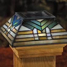 Solar Post Cap Light 6x6 Tiffany Glass Solar Post Caps Post Cap Tiffany Style