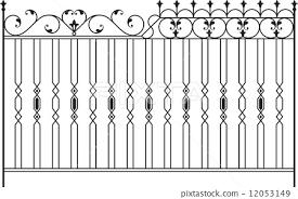 Wrought Iron Gate Door Fence Window Grill Stock Illustration 12053149 Pixta