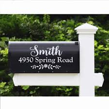 Amazon Com Wallztalk Set Of 2 Personalized Mailbox Decal Custom Address Sign Family Name Decal Vinyl Lettering Farmhouse Decor 6 5 H X 14 W Home Kitchen