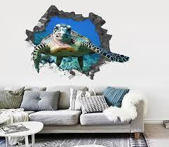 1 3d Ocean Turtle 64 Broken Wall Murals Aj Wallpaper