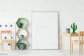 Cactus On Wooden Table Next To White Empty Poster With Mockup In Kids Room Interior Real Photo Stock Photo Download Image Now Istock