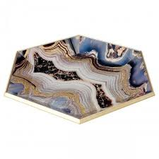 hexagon glass serving tray oyster design