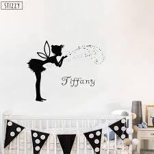 Stizzy Wall Decal Fairy Girls Name Wall Sticker Angel Stars Creative Baby Nursery Modern Personalized Custom Name Art Decor B448 Wall Stickers Aliexpress